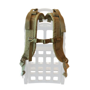 Tan shoulder straps with white background