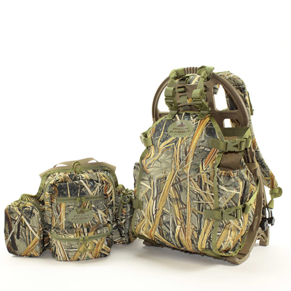 Camouflage chest pack and backpack combo with white background