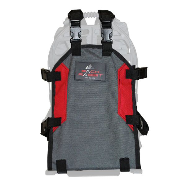 Grey backpack with white background