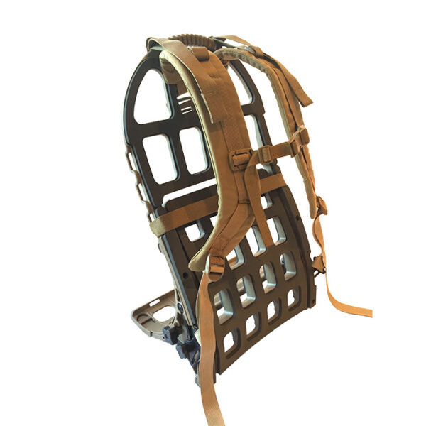 Tan exoskeleton frame and straps with white background