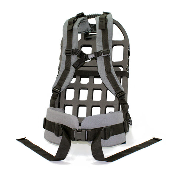 Black exoskeleton frame and grey straps with white background