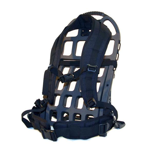 Black exoskeleton frame and black straps with white background