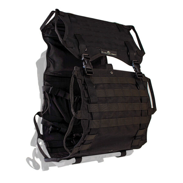 Black backpack with white background
