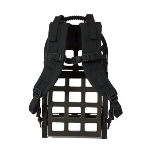 Black exoskeleton frame and straps with white background