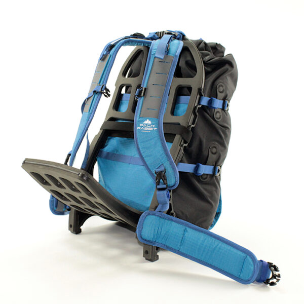 Blue backpack with white background