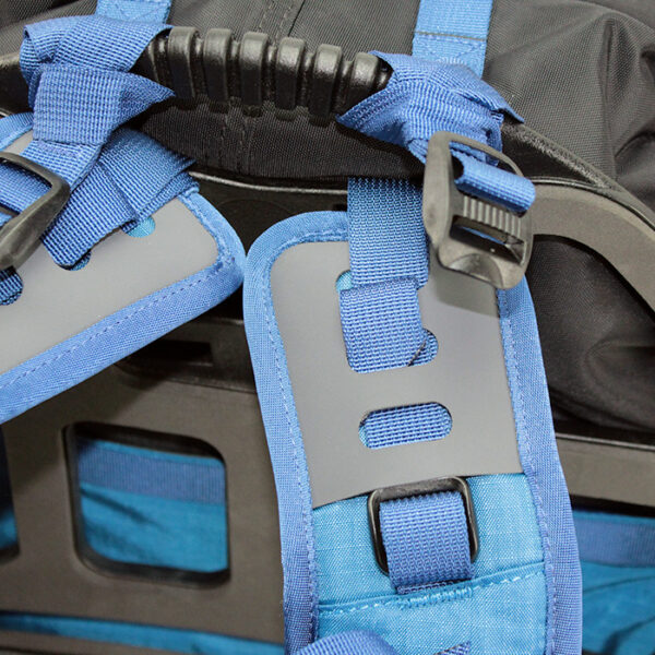 Close up of blue backpack with white background
