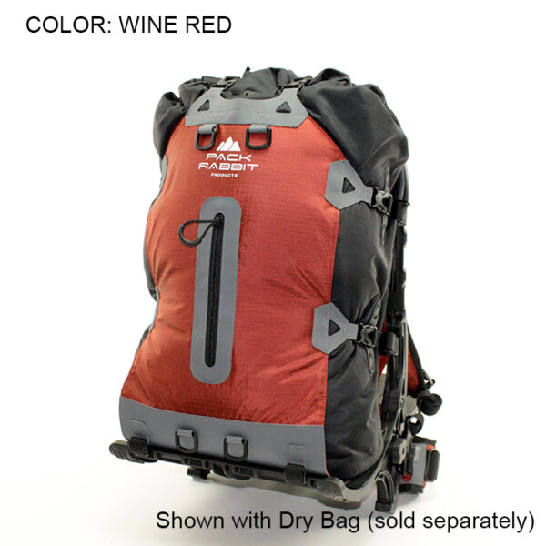 Red backpack with white background