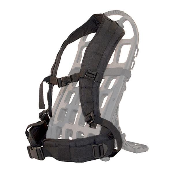 Black shoulder straps and hip belt with white background