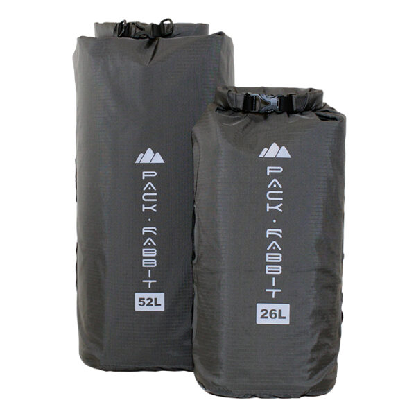 Grey Yampa dry bag with white background