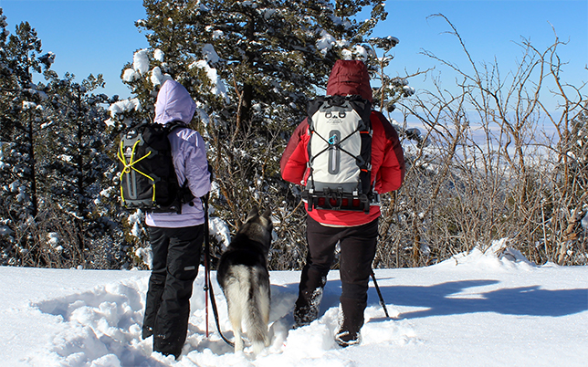 Two hikers wearing backpacks in the snow