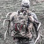 Hunter wearing tan backpack carrying elk horns