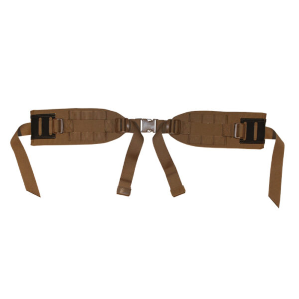 Tan backpack hip belt with white background