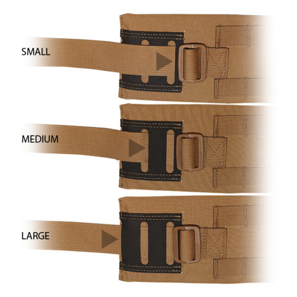 Close up of tan backpack hip belts with white background