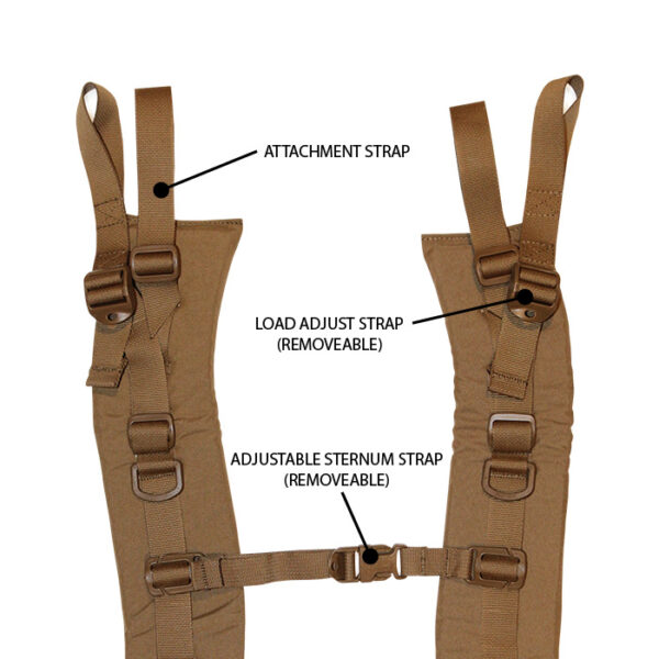 Closeup of tan shoulder straps with white background