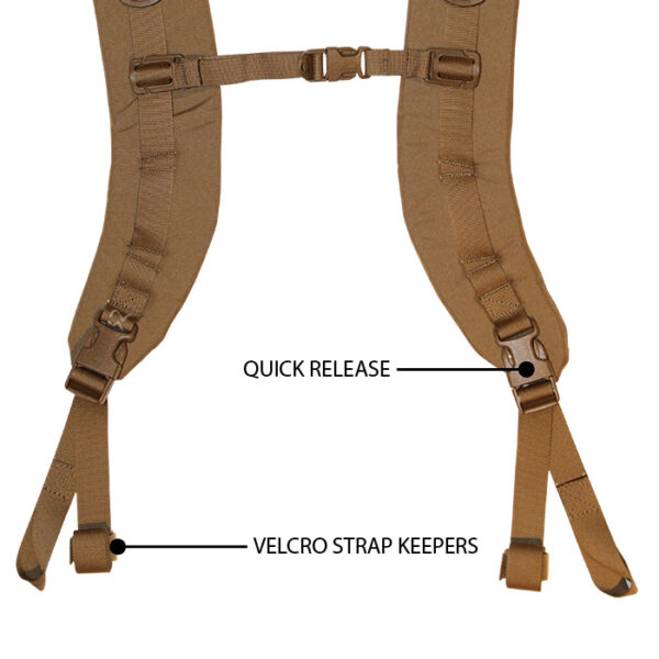 Close up of tan shoulder straps with white background