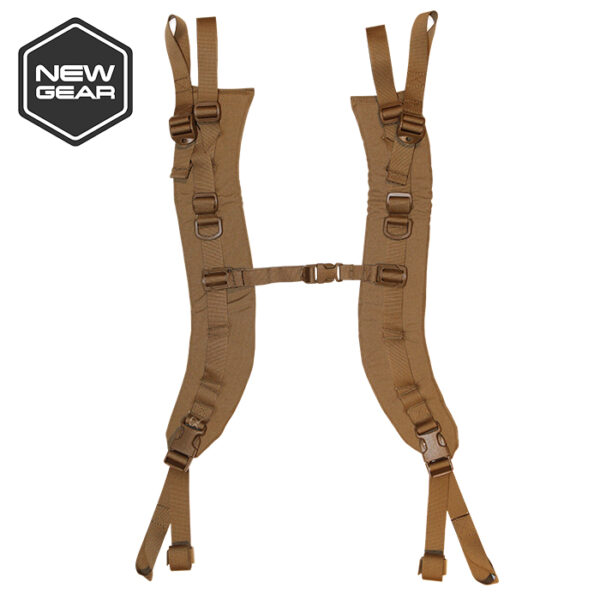 tan backpack shoulder straps with white background