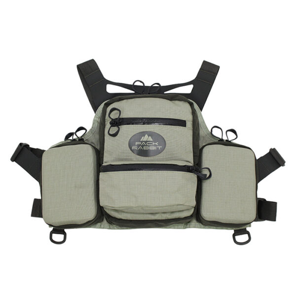 sage chest vest with white background
