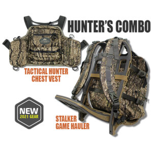 camo backpack and chest vest with white background