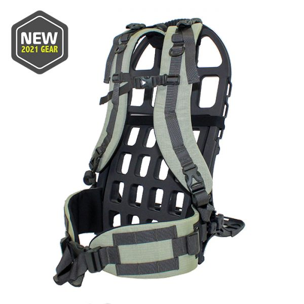 external pack frame and green harness